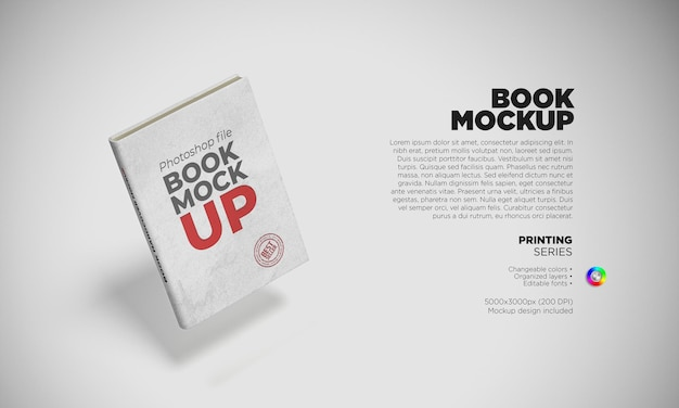 Book hardcover template in 3d scene