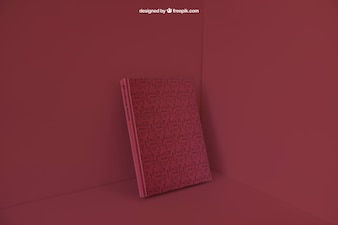 Book leaning in corner with red color effect