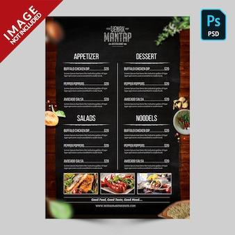 Book menu template side b
