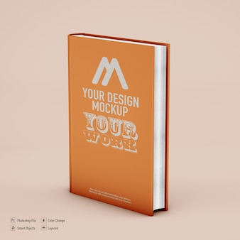 Book mockup isolated on soft color background