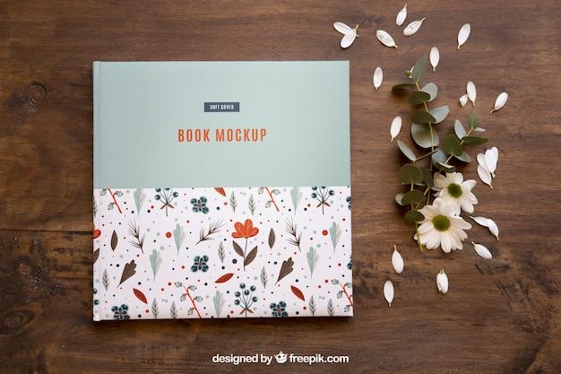 Book mockup and petals