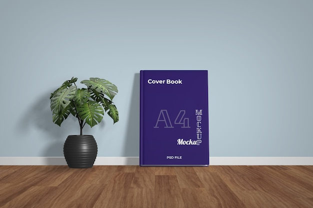 Book mockup standing on floor with flower