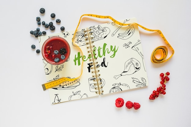 Book mockup with healthy food concept