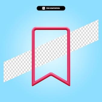 分離されたブックマーク3dレンダリングイラスト