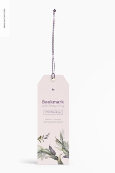 Bookmark with drawstring mockup, front view