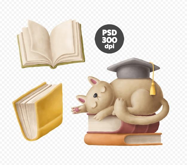 Книжный клипарт, кошка с изолированной иллюстрацией книг