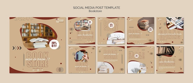 Bookstore ad social media post template