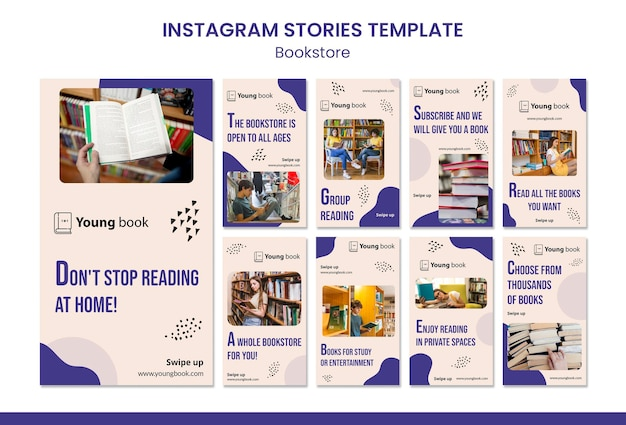 Bookstore instagram stories template