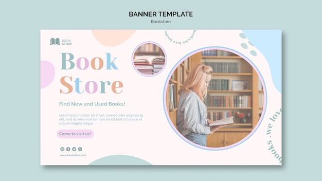 Modello di banner promozionale di libreria