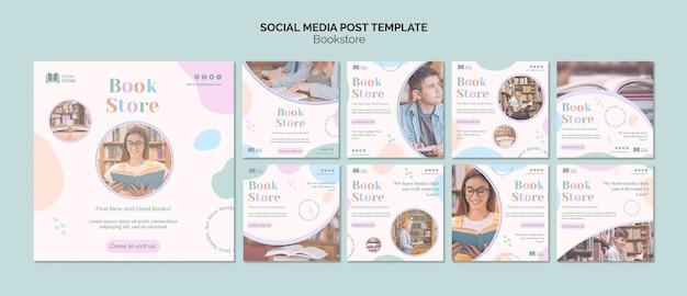 Bookstore social media post template