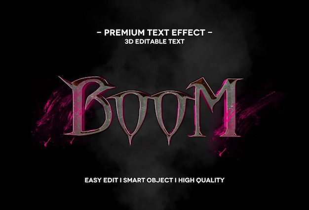 Boom 3d text style effect text template