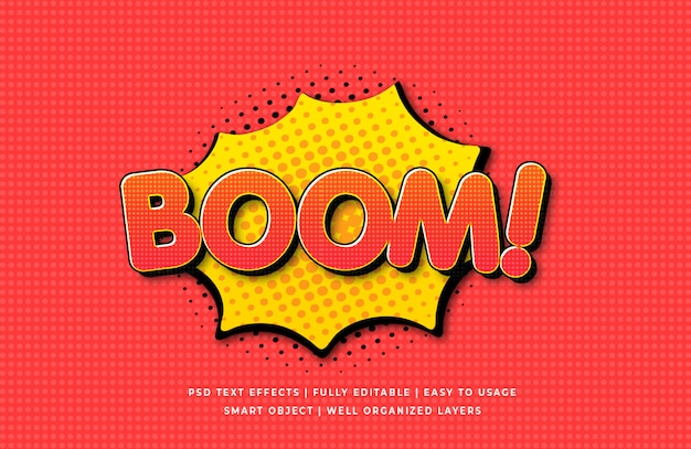 Boom comic speech 3d text style effect