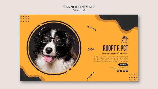 Border collie dog with glasses banner template