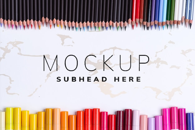 Border colorful markers and pencils mockup