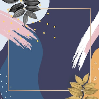 Psd cornice botanica su sfondo blu memphis