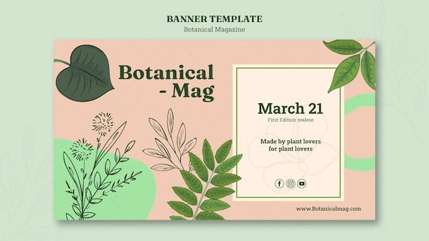 Botanical magazine banner template