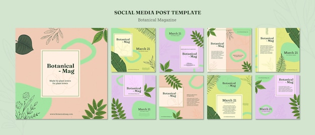 Botanical magazine instagram posts template