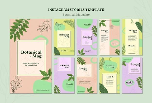 Шаблон историй instagram для ботанического журнала