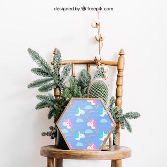 의자에 프레임의 식물 모형