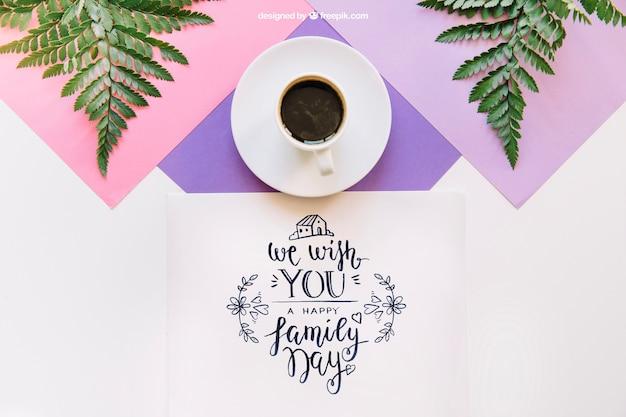 Mockup botanico con caffè