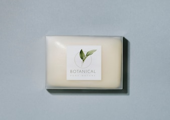 Botanical soap bar packaging mockup