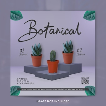 Ботанический пост в социальных сетях или шаблон баннера