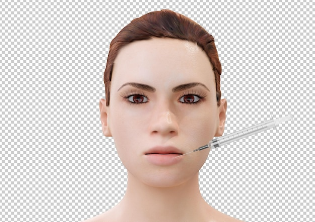 Botox injection in lips of young cartoon woman isolated on white background. 3d rendering
