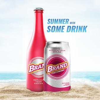 Бутылка и банка на пляже макет рекламы