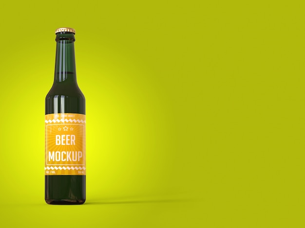 Bottle of beer with a label on yellow background mockup