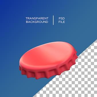 Металлическая крышка от бутылки в 3d визуализации изолированные