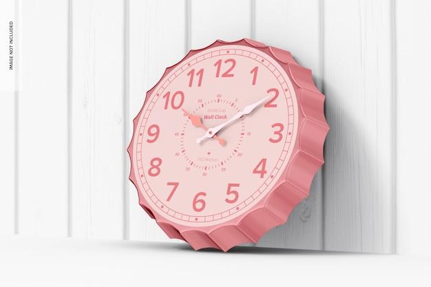 Mockup di orologio da parete con tappo di bottiglia, appoggiato