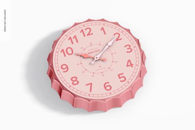 Mockup di orologio da parete con tappo di bottiglia, prospettiva