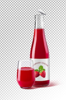 Bottle and glass of strawberry juice for beverage product design