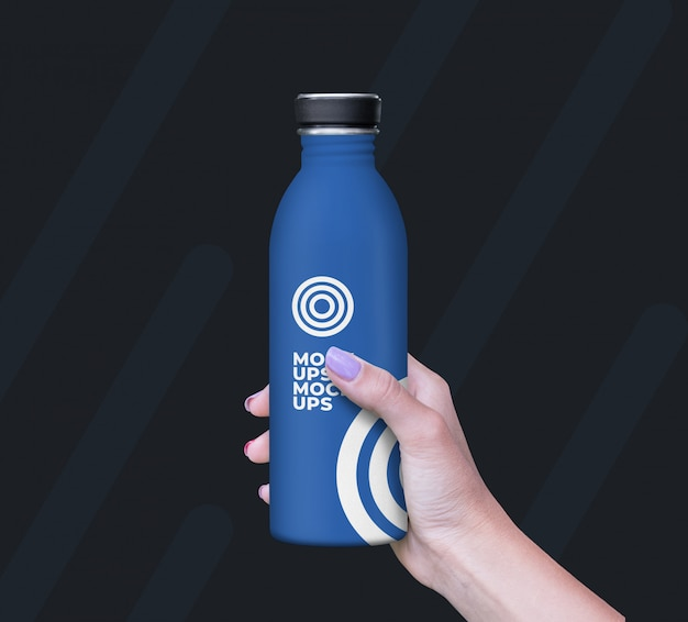 Bottle in hand mockup