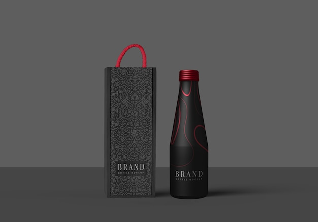 Bottle and its package mock up