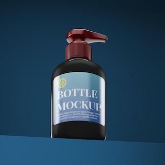 Изолированный макет бутылки с низким углом обзора