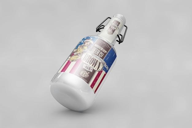 Mockup di bottiglia con la bandierina di usa