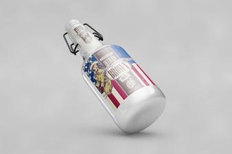 Bottle mockup with usa flag