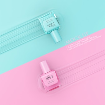 Bottle of nail polish mockup template on pastel background.