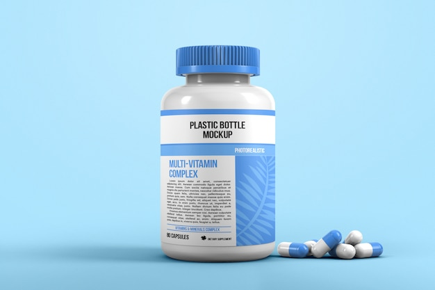 Bottle for pills mockup
