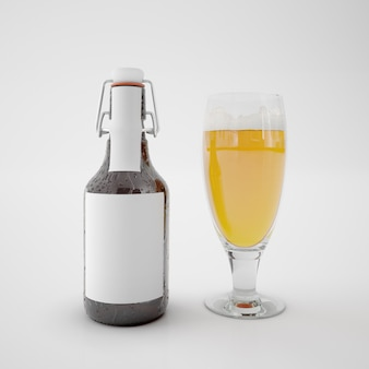 Bottle with blank label and glass with drink