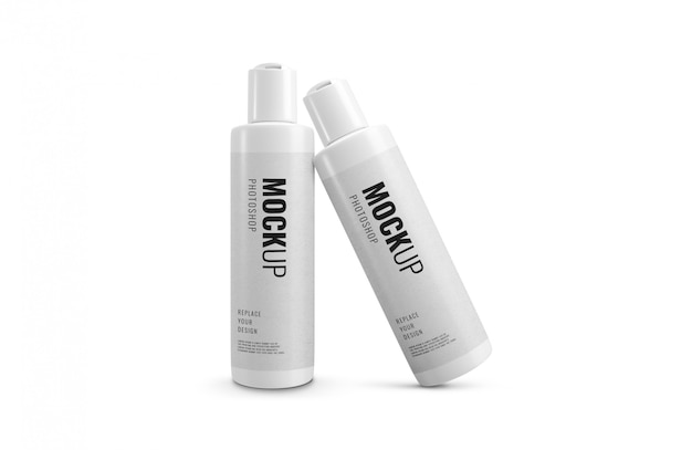 Bottles cosmetic shampoo cream mockup