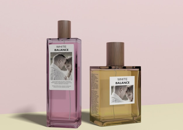 Bottles of perfume with mock-up