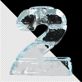 氷のインゴットから作られた数字の底面図。 3dナンバー2