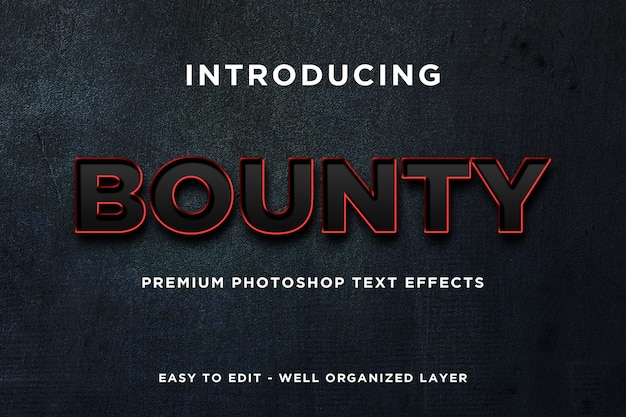 Bounty black red text effect mockup premium psd
