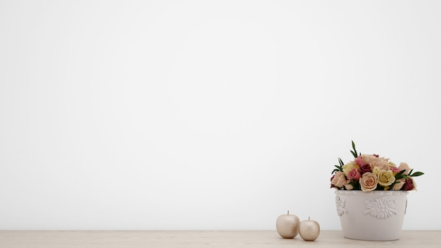 Bouquet of artificial roses in white vase, blank wall with copyspace