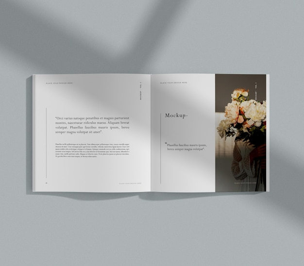 Mazzo di fiori rivista editoriale mock-up
