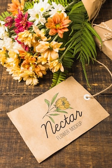 Bouquet of flowers with mock-up tag