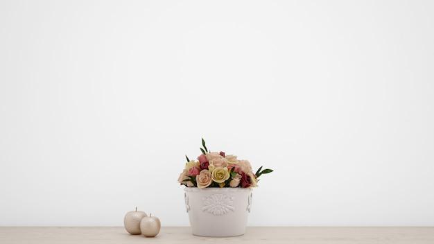 白い花瓶の人工のバラの花束