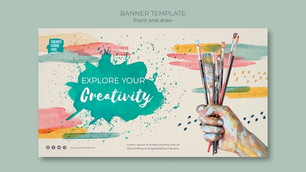 Bouquet of paint brushes banner template